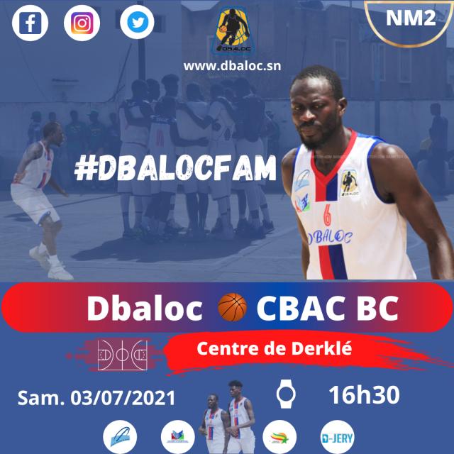 #DbalocFam 9e tour NM2: Dbaloc reçoit CBAC demain samedi